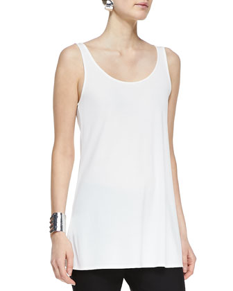 Long Silk Scoop-Neck Tunic Tank, Petite