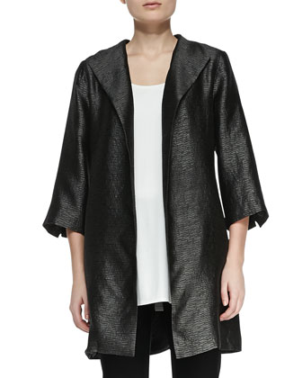 High-Collar Textured Jacket, Petite