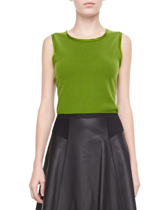Brenda Sleeveless Sweater & Natasha Flared Leather Skirt
