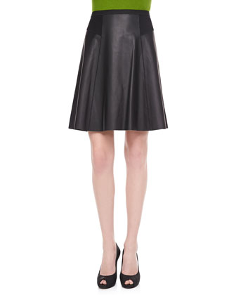Natasha Flared Leather Skirt