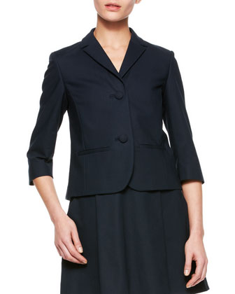 Short 3/4-Sleeve Jacket with Bow, Black