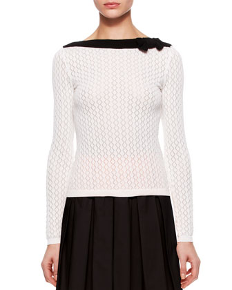 Knit Contrast Three Quarter -Sleeve Sweater & Poplin Pleated Skirt