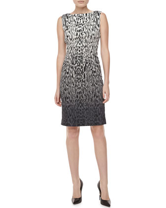 Ombre Animal-Print Jacquard Sheath