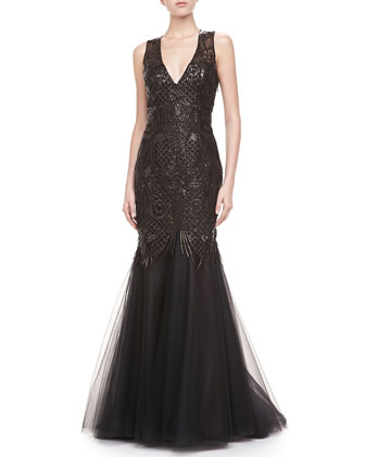 Leather Embellished V-Neck Gown