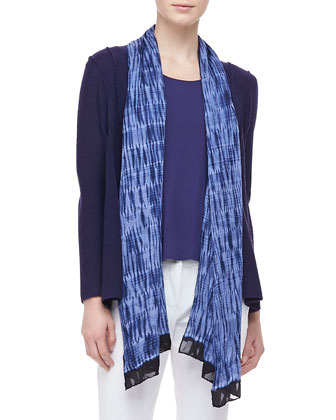 Washable Polished Wool Cardigan, Silk Jersey Tank, Silk Shibori Wave Scarf ...