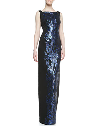 Sleeveless Sequined Panel Gown