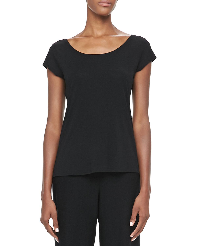 Silk Jersey Cap Sleeve Tee, Womens   Eileen Fisher   Black (3X (22/24W))