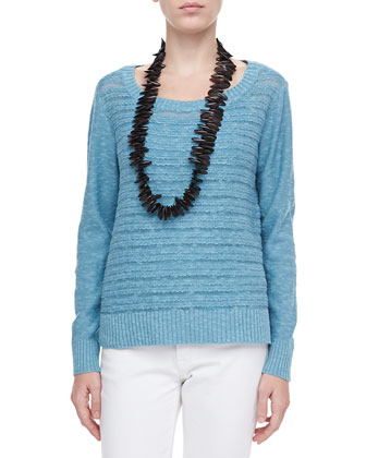 Washable Textured-Stripe Wool Top