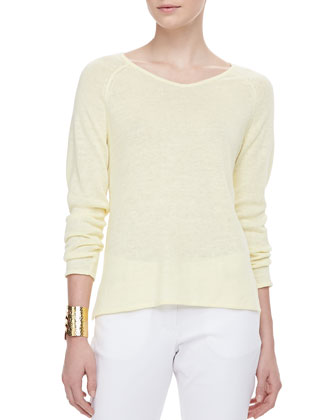 Lightweight Linen V-Neck Top, Petite