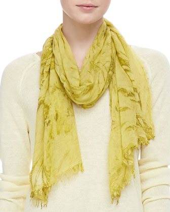 Lightweight Linen V-Neck Top & Shadow-Tinted Modal Scarf