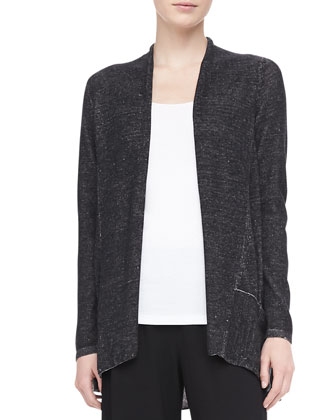 Plaited Angled Cotton-Lyocell Cardigan, Women's