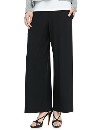Washable Stretch Jersey Wide-Leg Pants