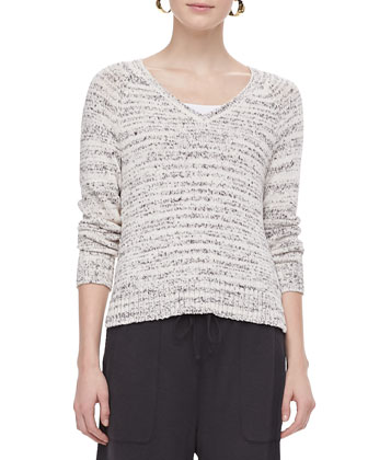 Blurred-Stripe V-Neck Sweater Top, Petite