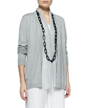 Sleek Cotton Silk-Trim Cardigan, Women's