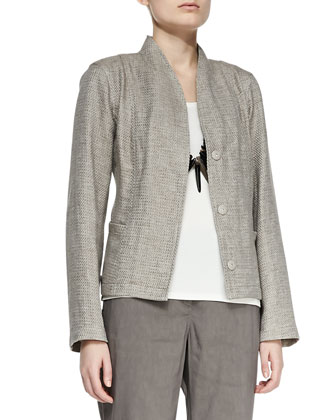 Basketweave 3-Button Jacket, Silk Jersey Tank, Linen-Blend Trousers & ...