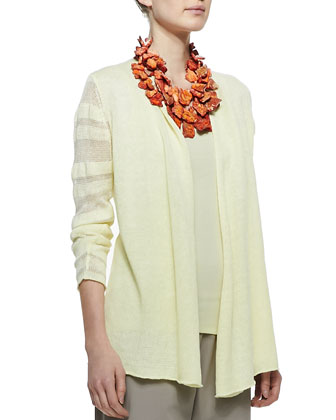 Linen Jersey Shadow Striped Cardigan, Women's