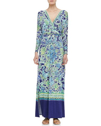 Riana Printed Long-Sleeve Maxi Dress