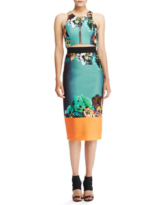 Front-Zip Crop Top & Printed Sateen Pencil Skirt