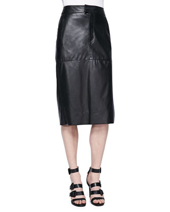 Stilt Perforated Leather Crop Top and Paneled Leather Midi Skirt
