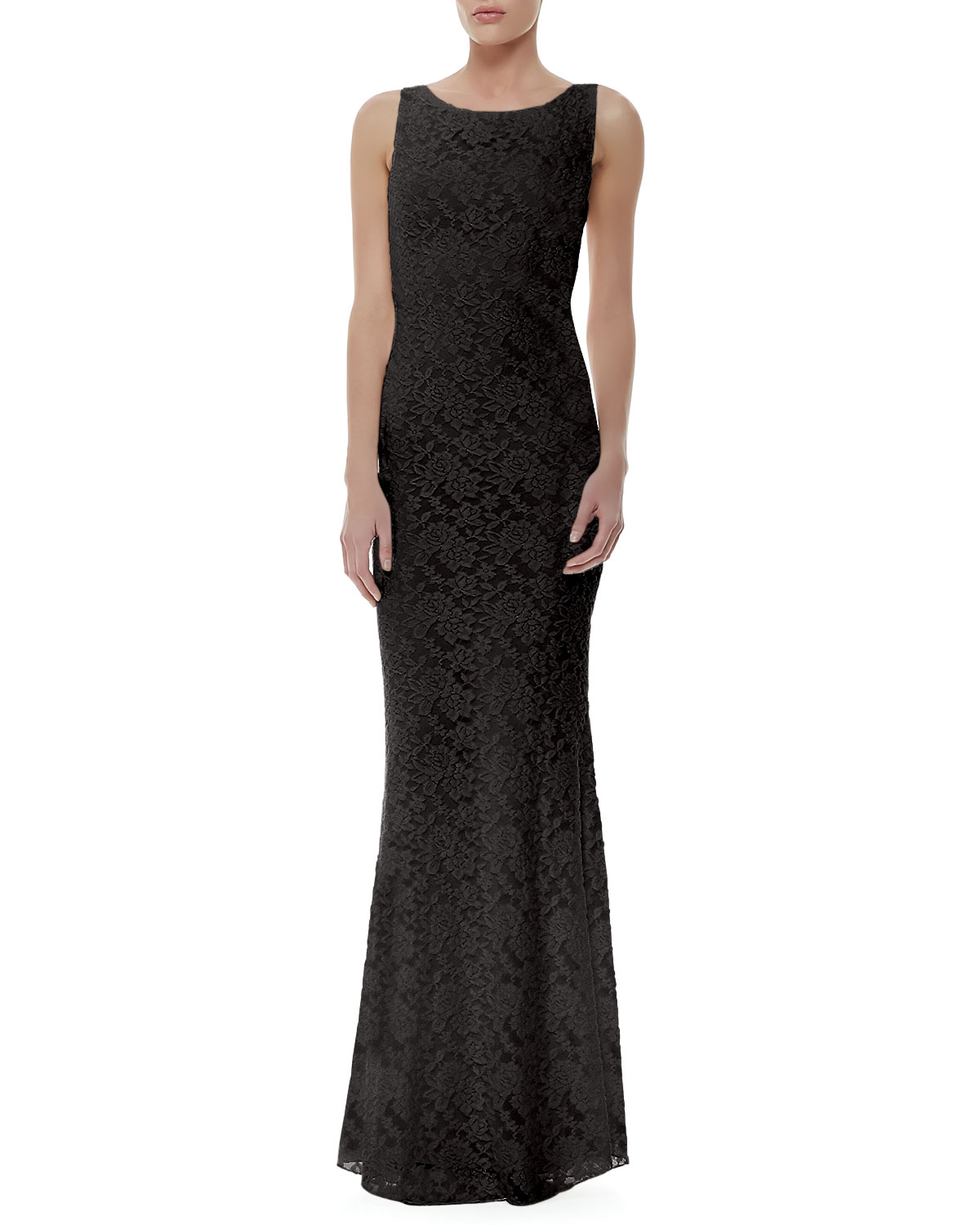 Womens Sachi Fitted Lace Gown, Black   Alice + Olivia