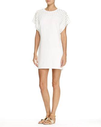 Short-Sleeve Dress with Grommet Detail