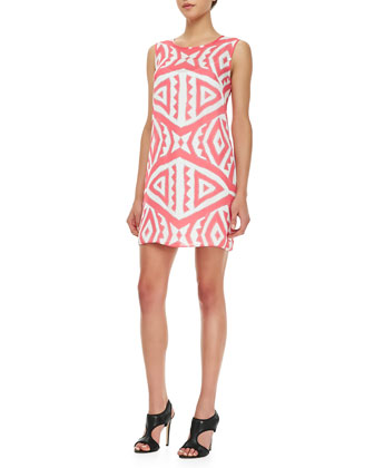 Jagged-Print Shift Dress