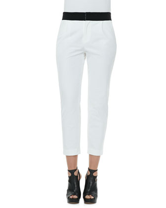 Layney Cropped Trousers, White