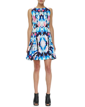 Printed Flounce-Skirt Dress