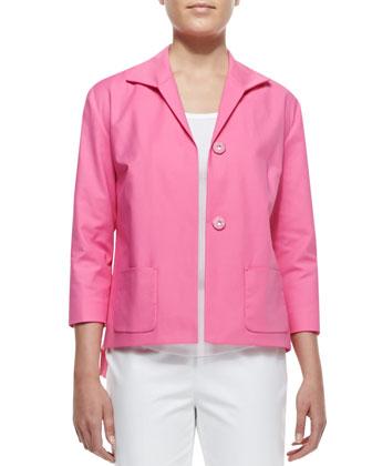 Reina Snap-Front Topper Jacket, Dahlia