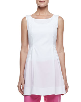 Julienne Pleated Poplin Sleeveless Top