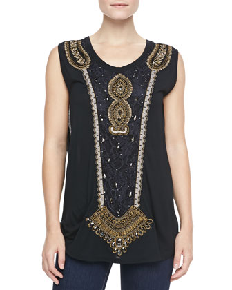 Embroidered-Front Muscle Tank