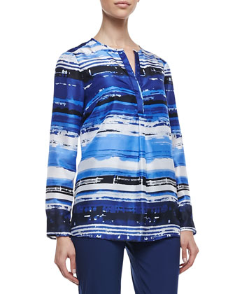 Samantha Long Sleeve Watercolor Top, Navy/White