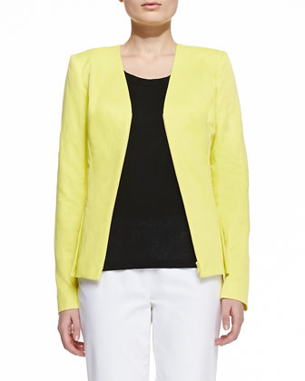Lana Open-Front Jacket, Linen Scoop-Neck Shell & Metro Stretch Cropped ...