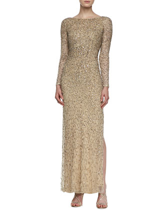 Long-Sleeve Ombre Beaded Gown