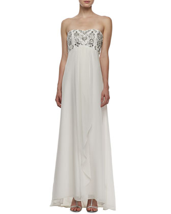 Strapless Beaded Draped-Front Gown