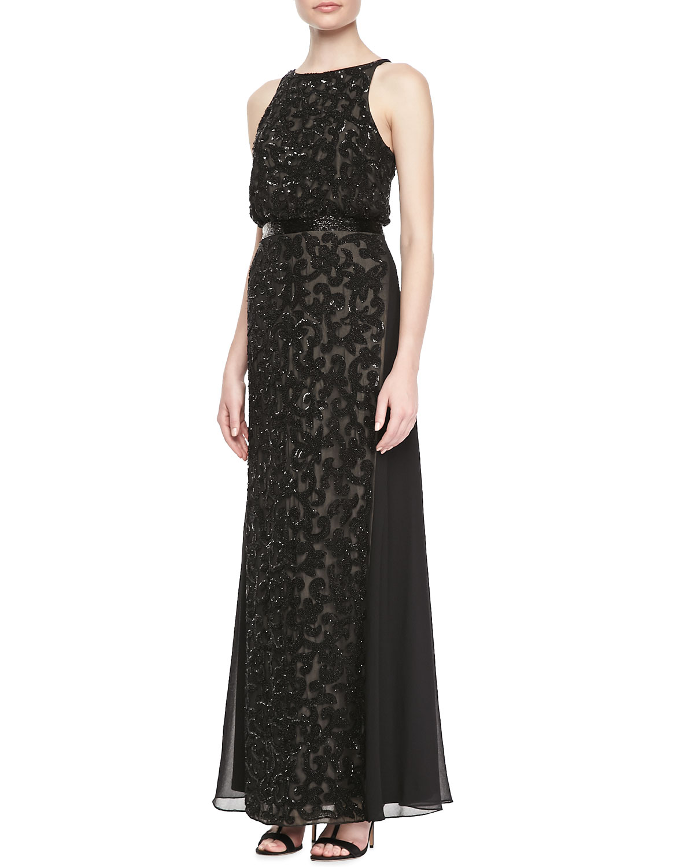 Womens Halter Blouson Lace Gown, Black   Aidan Mattox   Black (8)