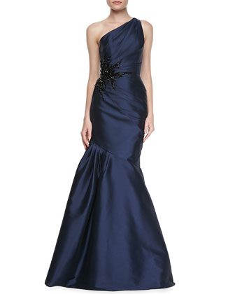 One-Shoulder Side Bead & Pleated Gown, Navy