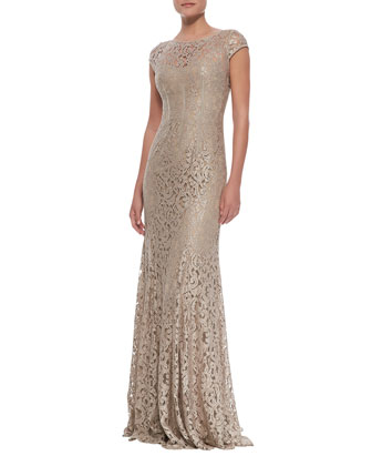 Foil Lace Cap Sleeve Gown