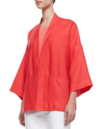 Cherise Linen 3/4-Sleeve Topper