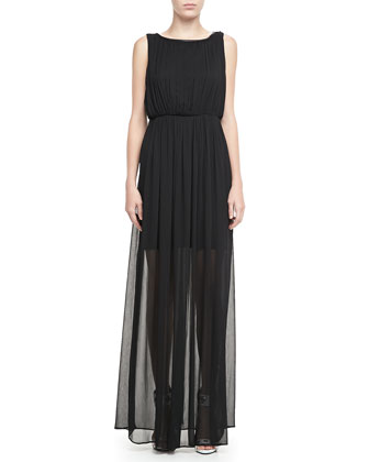 Jaydn Sheer-Skirt Maxi Dress