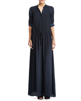 Stretch-Silk Maxi Shirtdress