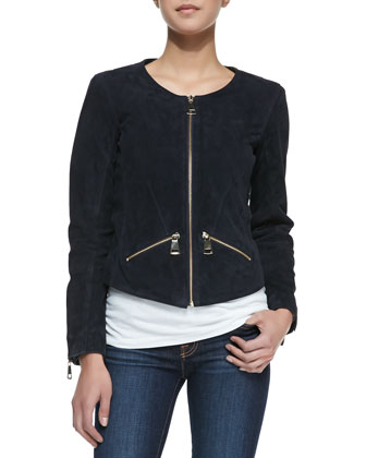 Multi-Zipper Suede Jacket