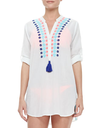 Mykonos Half-Button Long-Sleeve Tunic Coverup
