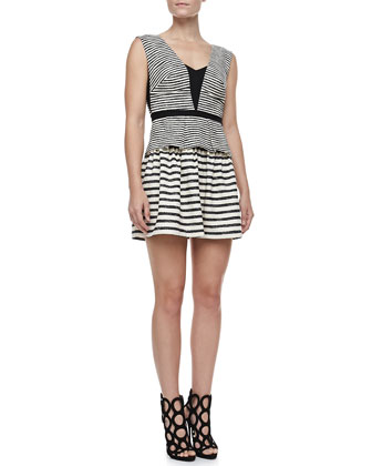 Piper Stripe Sleeveless Peplum Dress, Black/White