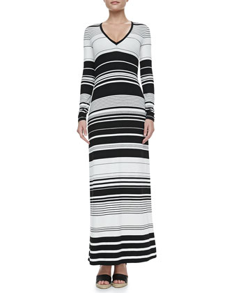 Calypso Striped Long-Sleeve Maxi Dress
