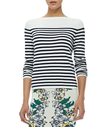 Kayann Striped Three-Quarter Sleeve Top