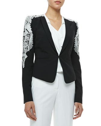 Abram Embroidered Blazer & Sessilee Georgette Three-Button Blouse