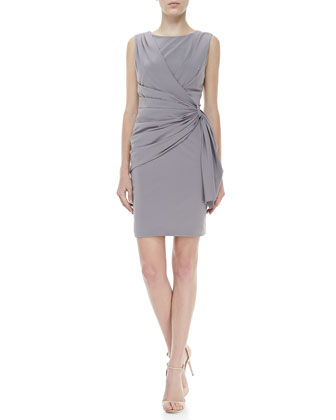 Sleeveless Side-Drape Dress, Gray