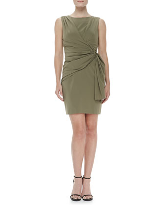 Sleeveless Side-Drape Dress, Green