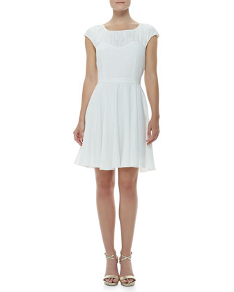 Cap-Sleeve Sweetheart Dress, Ivory